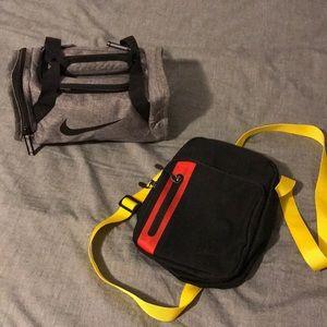 Nike over the shoulder bag. Nike toiletries bag.
